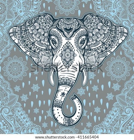 Beautiful bohemian elephant paisley seamless ornament. Folk pattern. Oriental inspiration. Vintage vector detailed art. Indian ethnic background with tribal elements. - stock vector