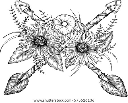 Beautiful boho elements arrows feathers flowers stock vector beautiful boho elements arrows feathers and flowers for colouring book tattoo mightylinksfo