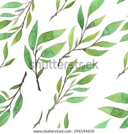beautiful botanical seamless pattern - watercolor hand drawn branches and green leaves on white background - vector illustration - stock vector