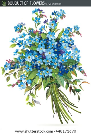 Beautiful bouquet of blossoming Forget-me-not flower, isolated on white background. No transparency and shadows - stock vector