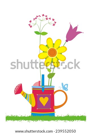 Beautiful bouquet of bright wildflowers in watering can. Vector illustration. - stock vector