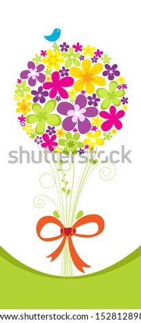 Beautiful bouquet of colorful spring flowers - stock vector