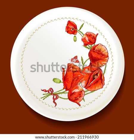 Beautiful bouquet of red poppy on a white plate Vector illustration