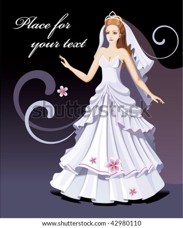 Beautiful bride is ready for wedding ceremony - stock vector