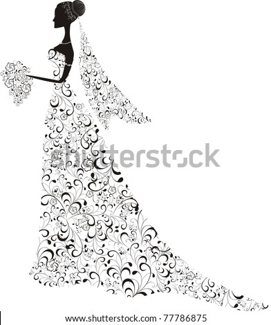 Beautiful bride with floral dress and veil. Vector Illustration.