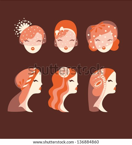 beautiful brides with different veils and hair styles vector illustration eps 10 - stock vector