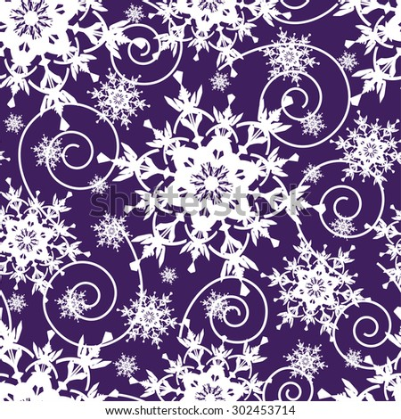 Beautiful bright dark blue background seamless pattern with white ornate stylized snowflakes and swirls. Seasonal winter festive seamless wallpaper for New Year and Christmas. Vector illustration. - stock vector