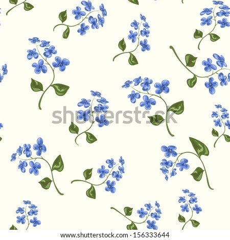 Beautiful bright floral seamless pattern with forget-me-not on beige background - stock vector