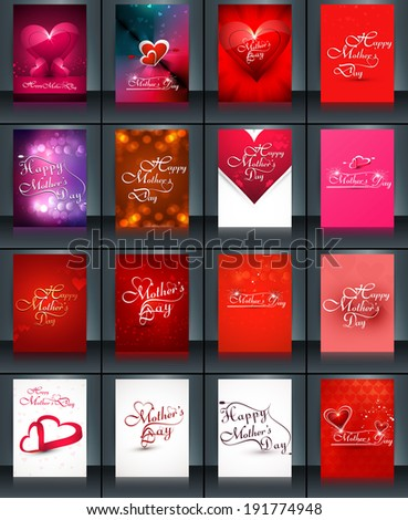 Beautiful brochure collection card set template mother's day presentation colorful background vector - stock vector