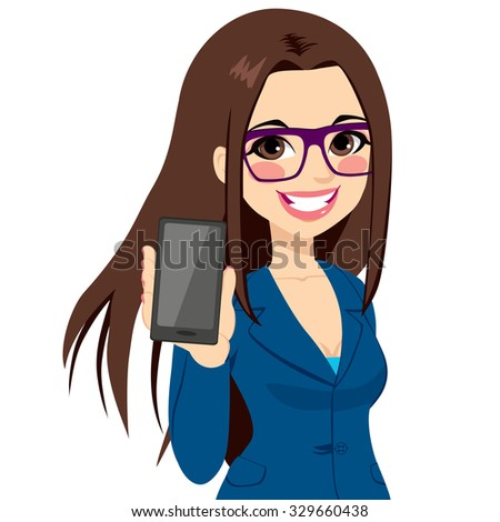 Beautiful brunette businesswoman displaying smartphone on vertical position - stock vector