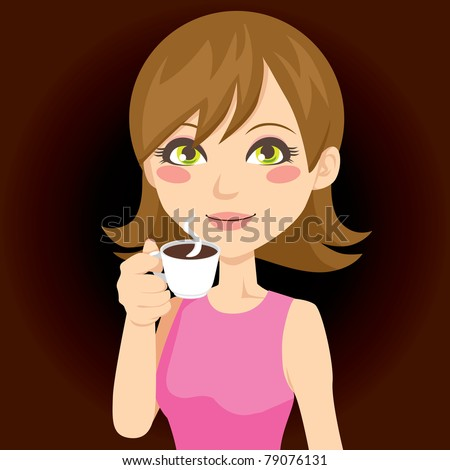 Beautiful brunette drinking a cup of hot black coffee - stock vector