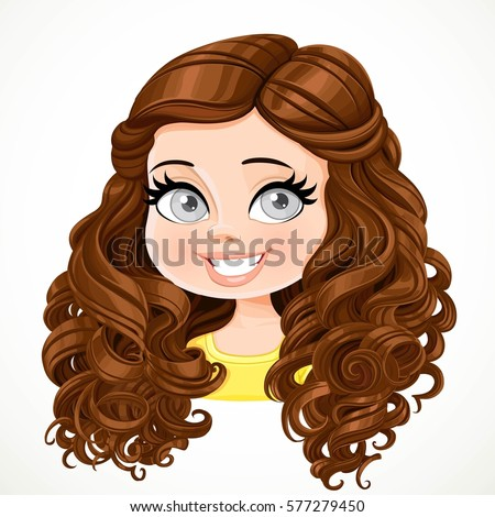 cartoon girl with curly brown hair cartoon girl stock