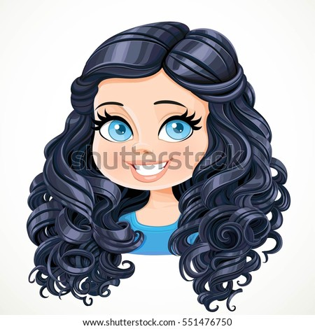 beautiful brunette girl black magnificent curly stock