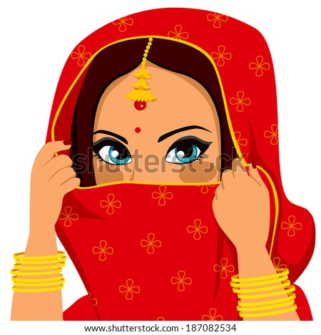 Beautiful brunette indian woman with traditional red sari covering and hiding her face - stock vector