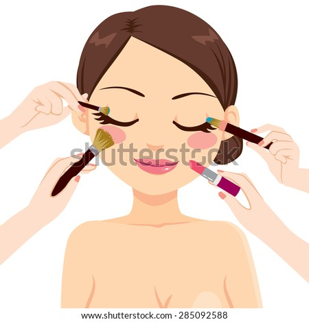 Beautiful brunette model woman with many hands makeup brushes and lipstick - stock vector