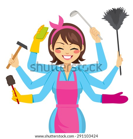 Beautiful brunette mother multitasking with working arms doing different actions - stock vector