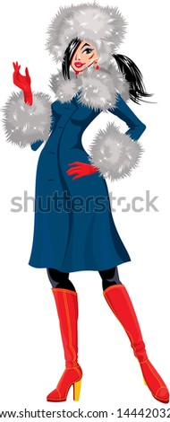 Beautiful brunette woman dressing in blue coat with white fur - isolated on white background - winter season picture - stock vector