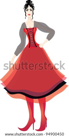Beautiful brunette woman in corset and puffed multilayer skirt. Eps 10
