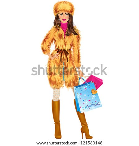 Beautiful brunette woman in fur coat and hat with shopping bags. Isolated vector illustration. - stock vector