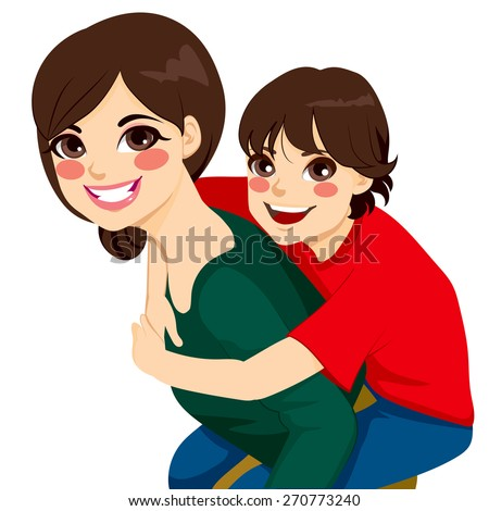 Beautiful brunette young mom with her son on piggyback ride smiling happy together - stock vector