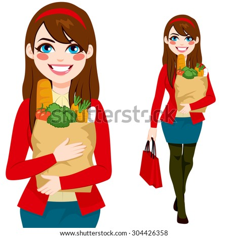 Beautiful brunette young woman carrying grocery paper shopping bag with healthy vegetables and food - stock vector