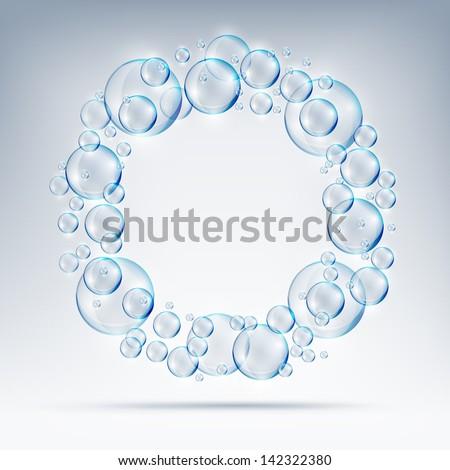 beautiful bubbles circle of soap. - stock vector