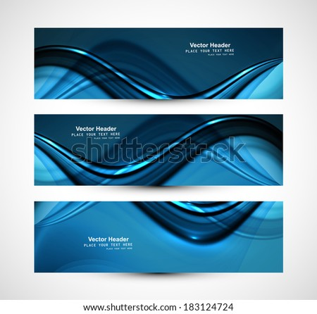 Beautiful business header blue shiny stylish wave design vector  - stock vector