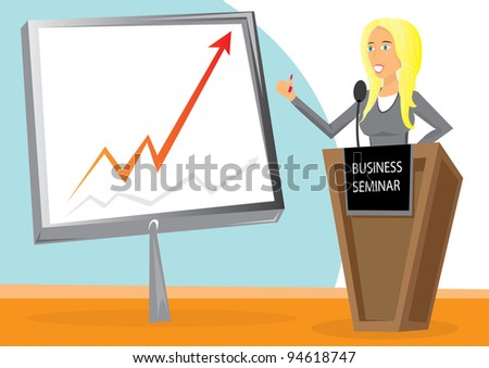 Beautiful business woman  chart board. - stock vector