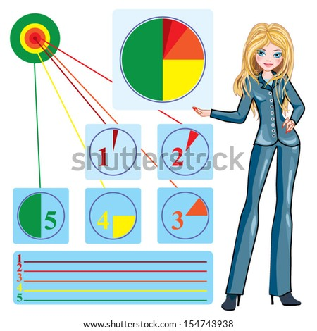 beautiful  businesswoman with color circle info-graphic - stock vector