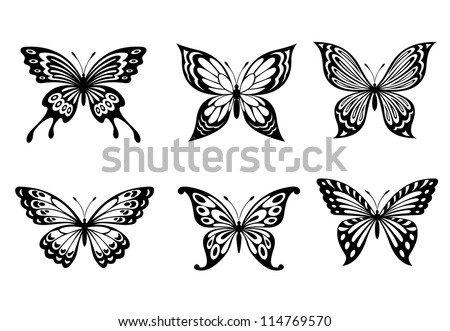 Beautiful butterflies in monochrome style for tattoo design, such a logo. Jpeg version also available in gallery - stock vector