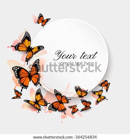 Beautiful butterfly background and gift card. Vector. - stock vector