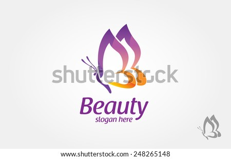 Beautiful Butterfly logo, this logo symbolize, some thing beautiful, soft, calm, nature, metamorphosis, graceful, and elegant.  - stock vector