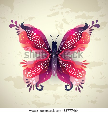Beautiful Butterfly on Grunge Wall - stock vector