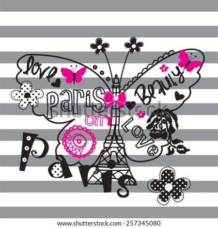 beautiful butterfly on striped background, eiffel tower in the Paris, t-shirt design vector illustration - stock vector