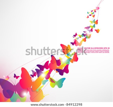 beautiful butterfly wallpaper design - stock vector