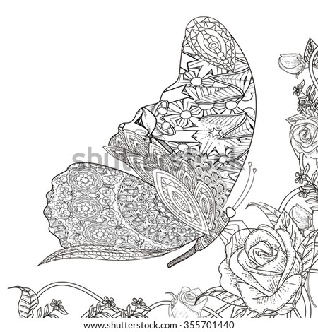 beautiful butterfly with floral elements coloring page in exquisite line - stock vector
