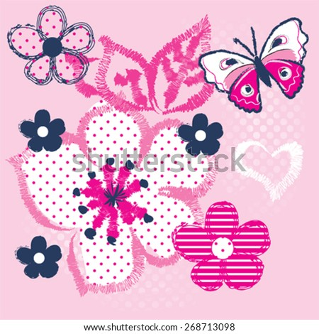 beautiful butterfly with flower, T-shirt design vector illustration - stock vector