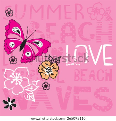 beautiful butterfly with flowers, T-shirt design vector illustration - stock vector