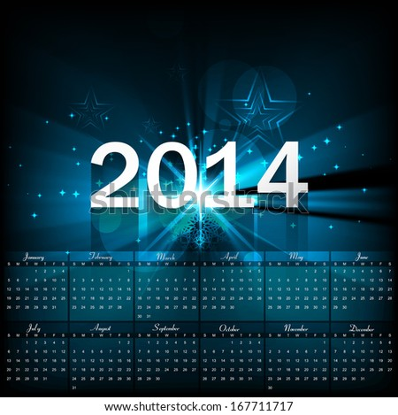 Beautiful Calendar 2014 template bright blue colorful shiny wave background