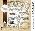 beautiful calligraphic design in grunge background - stock vector