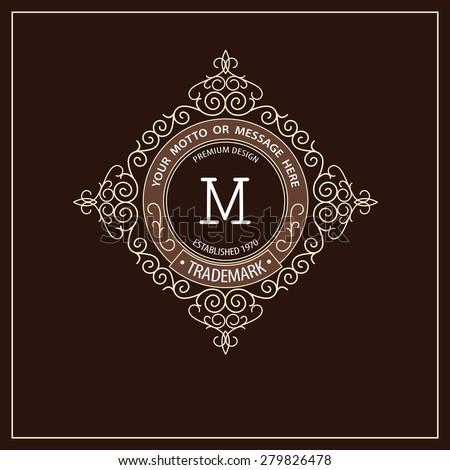 Beautiful calligraphic monogram emblem template. Premium elegant frame ornament line logo design  - stock vector