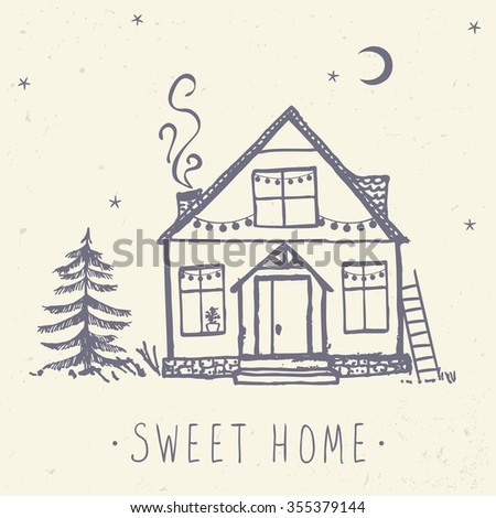 Beautiful card with beautiful house and spruce. Hand drawn sketch. Stylish vector illustration - stock vector