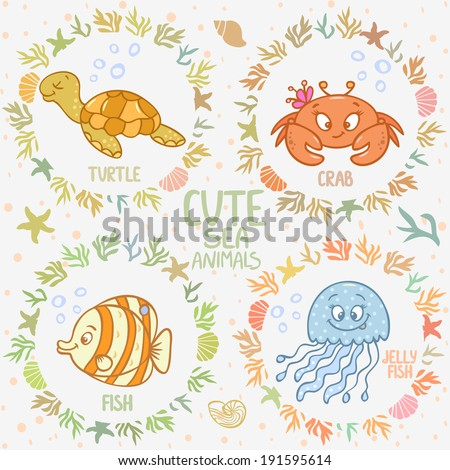 Beautiful card with cartoon cute fish, jellyfish, turtle, and crab, in sea frame - stock vector