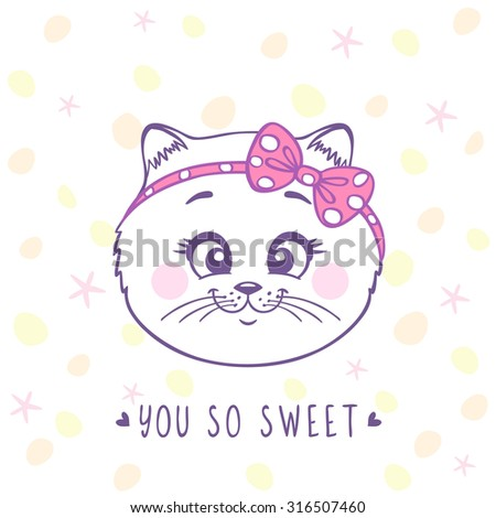 Beautiful card with cute and sweet cartoon kitten with a bow on head. Vector illustration - stock vector
