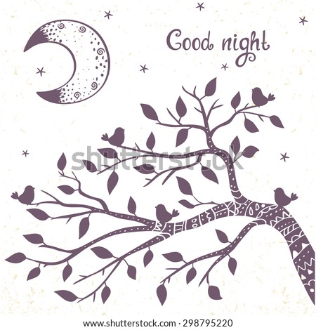 beautiful card with doodle silhouette tree branch and moon. Stylish vector illustration - stock vector