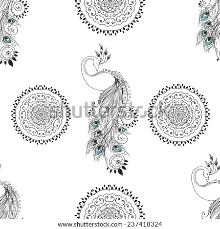 Beautiful card with Feather. ?ard of mandala in vector, cards or for any other kind of design, birthday and other holiday.Bright illustration. Pattern with peacock, background, kaleidoscope, india - stock vector