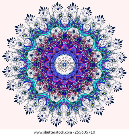 Beautiful card with Feather. Card of mandala in vector, cards or for any other kind of design, birthday and other holiday.Bright illustration. Pattern with peacock, background, kaleidoscope, india - stock vector