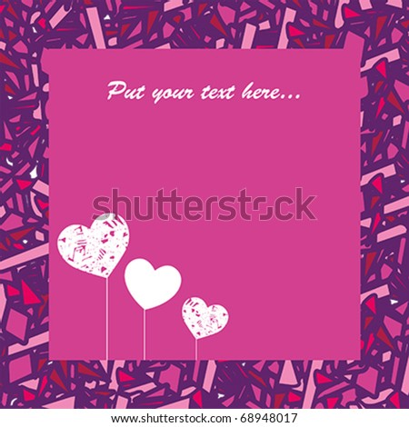 Beautiful card with hearts for Valentine's day - stock vector