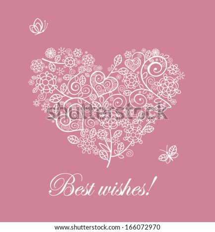 Beautiful card with lacy heart - stock vector