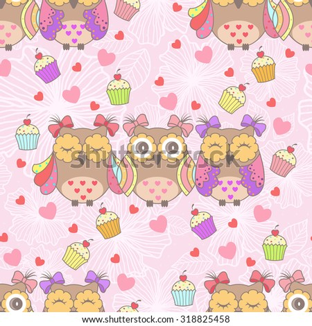 Beautiful card with owls and cake on a pink background - stock vector